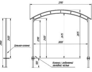 Размеры гаража из поликарбоната схематично