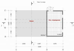 Схема с размерами гаража из поликарбоната